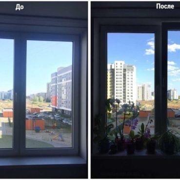 Мойка окон в Екатеринбурге до и после