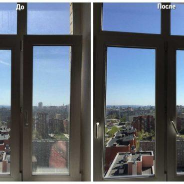Мойка окон в Екатеринбурге до и после работы